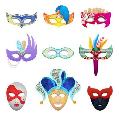 Tapeta Karnawałowe Maski weneckie ustalonych dla Tradycyjnego Masquerade izolowane. ilustracji wektorowych