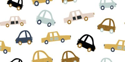 Tapeta Kids handdrawn seamless pattern with colorful cars