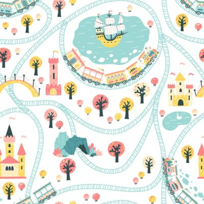 Tapeta Kingdom seamless pattern. Children's Vector illustration in Scandinavian style with a railway and a train, sea, ship, princess castle. ideal for baby textiles.