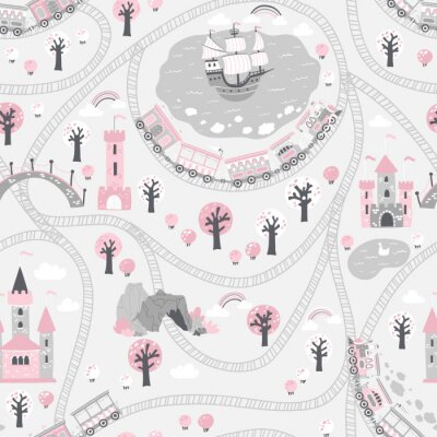 Tapeta Kingdom seamless pattern in gray pink tones. Children's Vector illustration in Scandinavian style with a railway and a train, sea, ship, princess castle. ideal for baby textiles