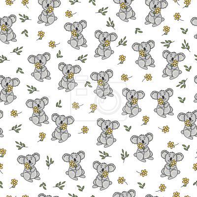 Tapeta Koala I Kwiaty