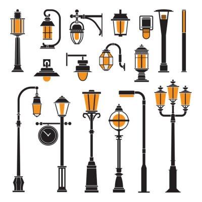 Tapeta Kolekcja różnych świateł ulicznych i latarniach ikon konspektu. Lampa na miasto i słupki lampy ustawione w płaskiej obudowie. Nowoczesne i retro oświetlenie parku ilustracji wektorowych.
