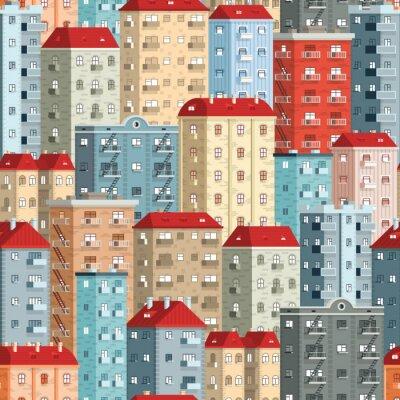 Tapeta Kolorowe europejskie wieżowce - bez szwu wzór. Zawarte w panelu pokosów.