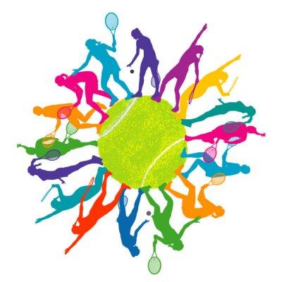 Tapeta Kolorowe pojęcie tenis z sylwetki kobiety gra w tenisa