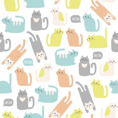 Tapeta Kolorowe wzorek bez szwu z cute kotów. Wektor tła