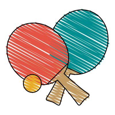 Tapeta Kolorowy sprzęt do tenisa stołowego doodle na białym tle ilustracji wektorowych