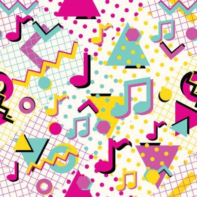 Tapeta Kolorowy streszczenie styl lat 80-tych wzór z nut