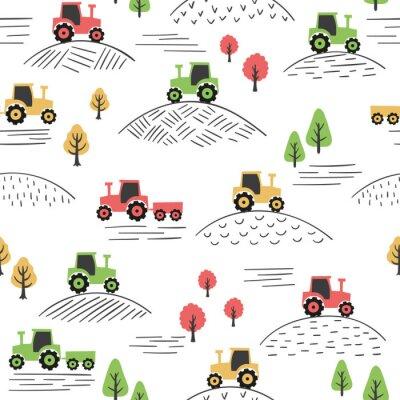 Tapeta Kolorowy wzór z ciągnikami doodle.