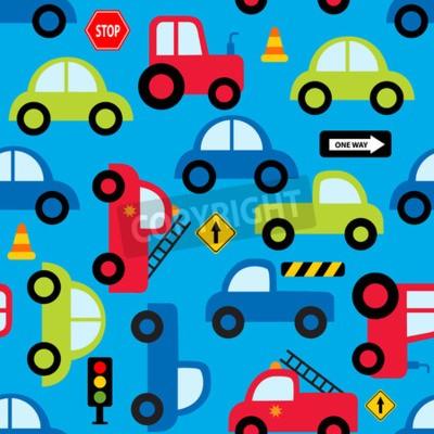 Tapeta Kolorowych zabawkarskich pojazdów bezszwowy wzór dla tkanina wzorów projektów