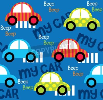 Tapeta Kolorowych zabawkarskich samochodów bezszwowy wzór dla tkanina wzoru projektów