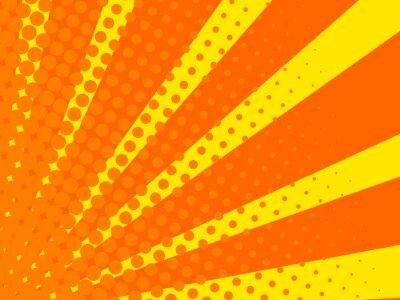 Tapeta Komiks tło. Żółty i pomarańczowy wzór kropek Sunburst. Styl pop-artu. Ilustracji wektorowych.