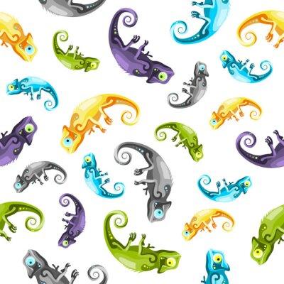 Tapeta Kompletne kolorowy wzór kameleony na białym tle