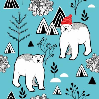 Tapeta Kompletne wzór z niedźwiedzia polarnego w czerwonych ciepła, gór i roślin.