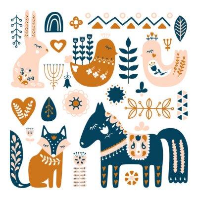 Tapeta Kompozycja ze zwierzętami ludowymi i elementami dekoracyjnymi. Ręcznie rysowane wektor wzór. Skandynawski, nordycki styl.