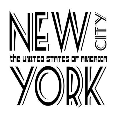 Tapeta Koszulka typografii grafiki Nowy Jork. Athletic styl NYC. Moda amerykański stylowy druku dla odzieży sportowej. Czarno na białym godła. Szablon do odzieży, karty, plakatu. Symbol duże miasto Vector