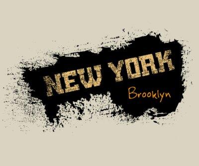 Tapeta Koszulka typografii grafiki Nowy Jork. Athletic styl NYC. Moda amerykański stylowy druku dla odzieży sportowej. Grunge godło. Szablon do odzieży, karty, plakatu. Symbol dużego miasta. ilustracji wekto