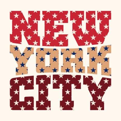 Tapeta Koszulka typografii grafiki Nowy Jork. Athletic styl NYC. Moda amerykański stylowy druku dla odzieży sportowej. Kolor na białym tle godła. Szablon do odzieży, karty, plakatu. Symbol duże miasto Vector