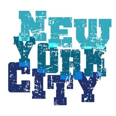 Tapeta Koszulka typografii grafiki Nowy Jork. Athletic styl NYC. Moda amerykański stylowy druku dla odzieży sportowej. Niebieski na białym godła. Szablon do odzieży, karty, plakatu. Symbol duże miasto. ilust