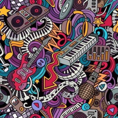 Tapeta Kreskówka słodkie gryzmoły muzyka wzór