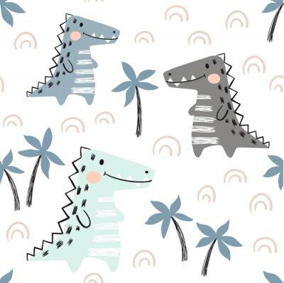 Tapeta Krokodyla dziecka bezszwowy wzór. Skandynawski ładny druk dinozaurów.