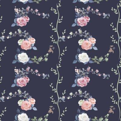 Tapeta Kwadratowy kwiatowy wzór bezszwowych z gałęzi kręcone różowe, białe, czerwone róże, bukiet kwiatów, pąki, zielone łodygi, liście na ciemnym tle, rysunek cyfrowy rysunek, vintage, wektor