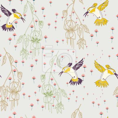 Tapeta Kwiat łąka i kolibry
