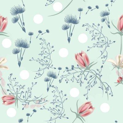 Tapeta Kwiatowy bezszwowe wektor wzór z mniszek lekarski i różowe kwiaty kosmosu