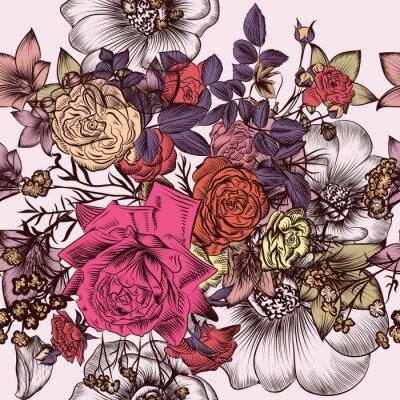 Tapeta Kwiatowy wzór z ręcznie grawerowane kwiaty w stylu vintage