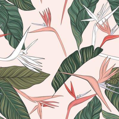 Tapeta Kwiatu wektoru zieleni menchii oferty lata ilustracja. Bezszwowa konstrukcja plaży z egzotyczną teksturą liści. Hawajski nadruk.