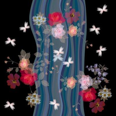 Tapeta Kwiaty i motyle na tle wodospadu. Stylizowany krajobraz nocny. Jednolite wektora deseniu.