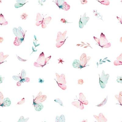 Tapeta Ładny akwarela jednorożca wzór z kwiatami. Żłobek magiczne wzory jednorożca. Księżniczka tęczy tekstury. Modny różowy koń kucyk kreskówka.