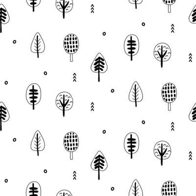 Tapeta Las drzew scandinavian bez szwu deseń