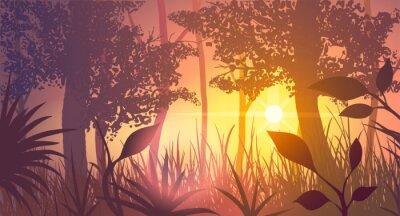 Tapeta Las o zachodzie słońca. Ilustracja wektora.