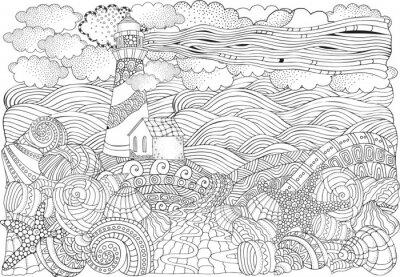 Tapeta Latarnia morska i muszle, pejzaż morski.