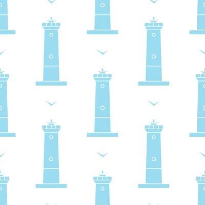 Tapeta Latarnia morska i Seagulls bez szwu wektora wzór w stylu morskim