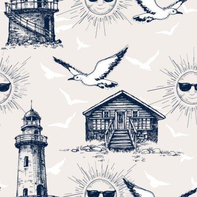Tapeta Latarnia morska, kabiny i słoneczny wakacje i wakacje wzór