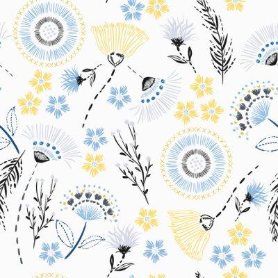 Tapeta Lato bez szwu wzór Kolorowy rysunek ręka szkic kwiaty ogrodowe i linia, liście kreski w doodle wektor styl nadaje się do mody, tkaniny i wszystkich wydruków na białym tle.