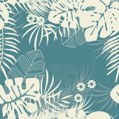 Tapeta Lato bezszwowe tropikalny wzór z liści palmowych monstera i rośliny na niebieskim tle