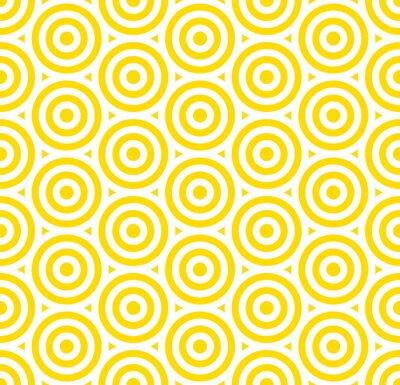 Tapeta Lato tła okręgu lampasa wzoru bezszwowy kolor żółty i biel.