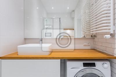 Tapeta łazienka Z Drewnianym Blatem