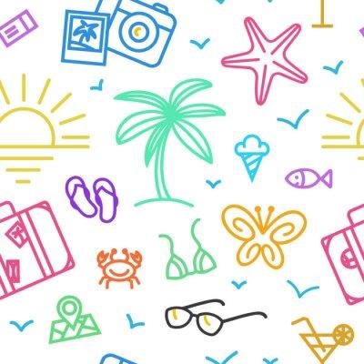 Tapeta Letnie wakacje wzór z różnych ikon podróży w liniowym stylu.