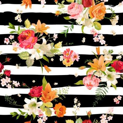 Tapeta Lilia i Orchidea Kwiaty Bezszwowych Tła. Floral wzorca w wektorze