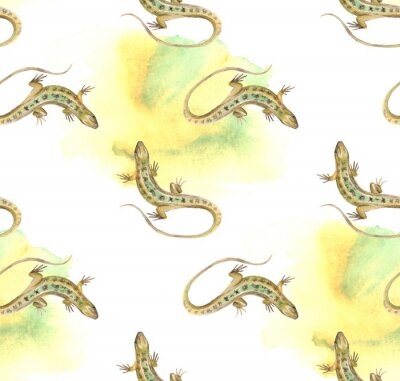 Tapeta Lizard. Akwarela szwu.