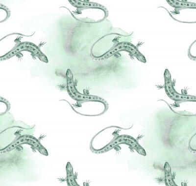 Tapeta Lizard. Watercolor seamless pattern. Art background 3