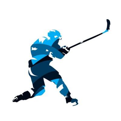 Tapeta Lodowy gracz w hokeja strzelaniny krążek hokojowy, abstrakcjonistyczna błękitna wektorowa sylwetka