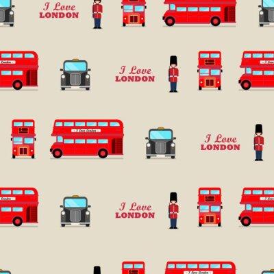 Tapeta London iconic symbols seamless pattern