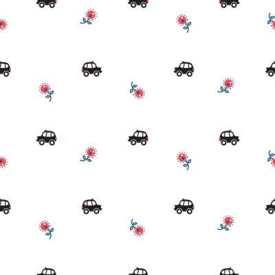 Tapeta London kabaretu samochody cab i kwiaty bez szwu wektora deseniu. Tradycyjne samochody cute baby stylu dla odzieży i ubrania.