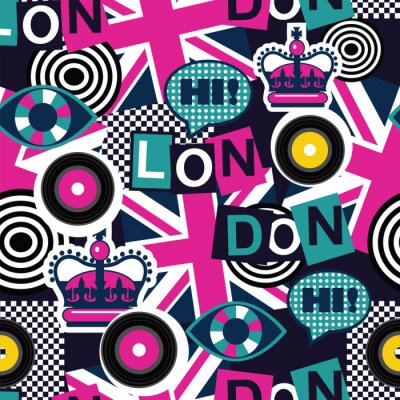Tapeta London musical pop sztuki bez szwu deseń
