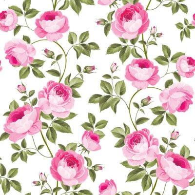 Tapeta Luksusowa tapeta na piwonie w stylu vintage. Bezszwowych wzór kwitnących róż dla kwiatów tapety. Ilustracji wektorowych.
