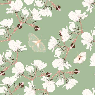 Tapeta Magnolie Kwiatowy wzór bez szwu. Orientalne motywy kwitnące botaniczne rozrzucone losowo. Bezszwowe wektor tekstury. Drukowanie w stylu wyciągnąć rękę w mięty tle.
